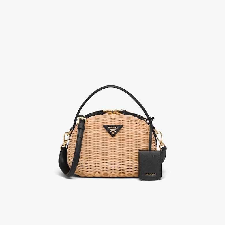 Prada Wicker and Saffiano leather shoulder bag - Woman