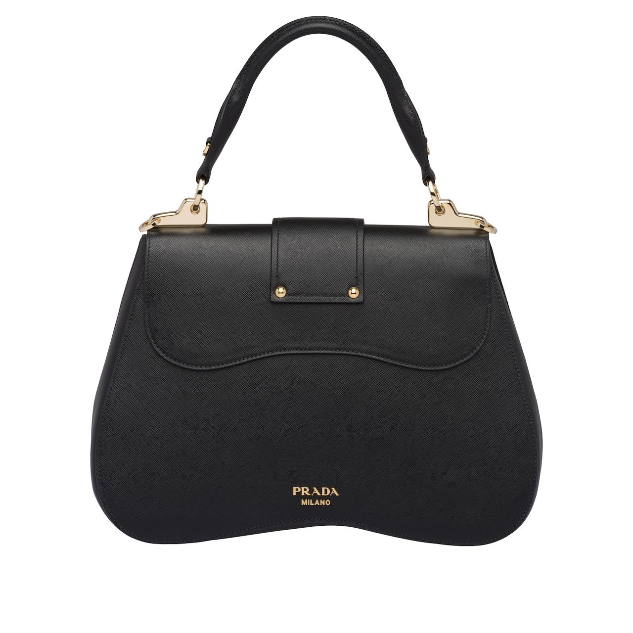 67d626e17b7f ... the Prada Sidonie bag are renewed in the large Saffiano version - with  metal hardware and a refined leather name tag - that preserves the  distinctive ...