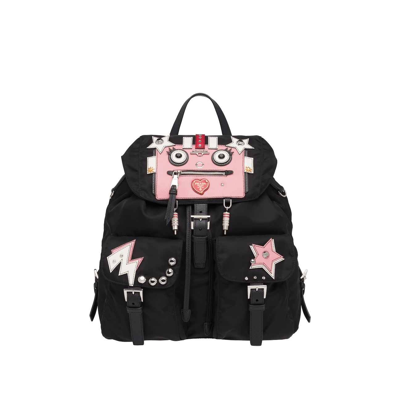 0631eee92578 Leather and fabric backpack with Robot