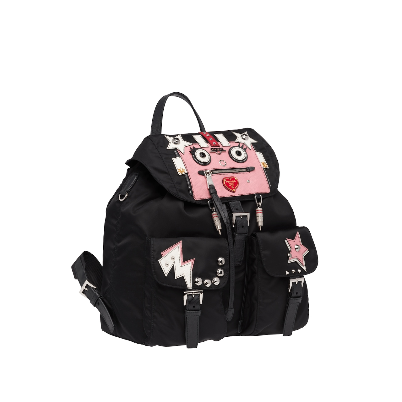 Leather and fabric backpack with Robot