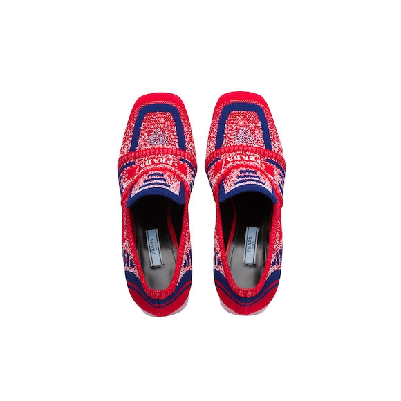 Knit fabric loafers