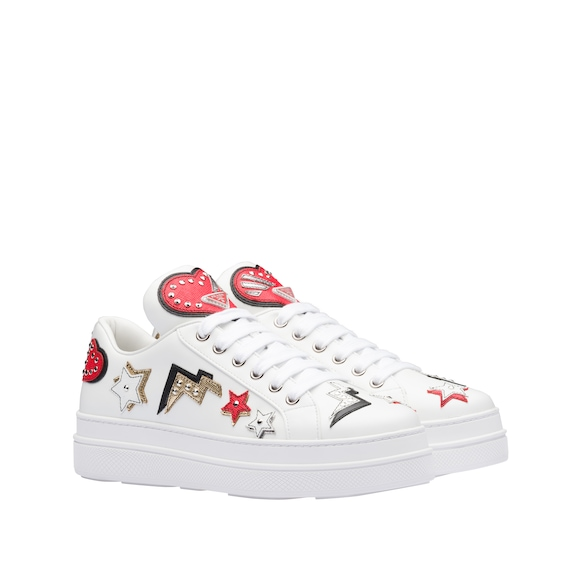 Prada - leather sneakers with hearts patch - 2