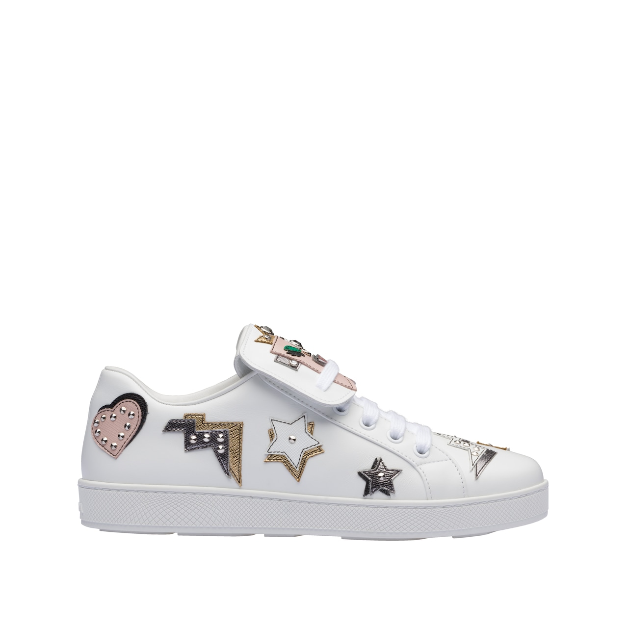 Leather and Saffiano leather sneakers