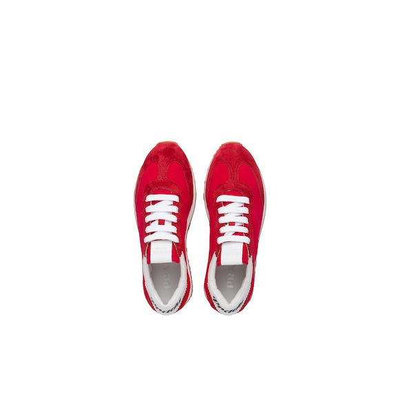Fabric and suede sneakers