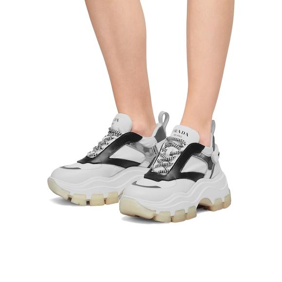 Leather and nylon Prada Block sneakers