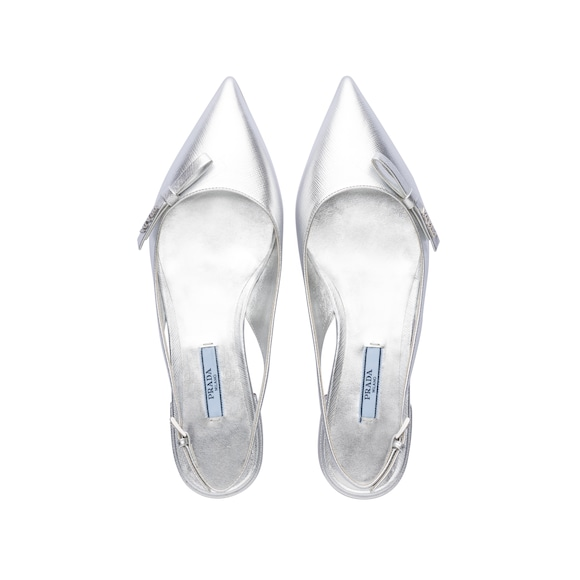 e456d204bb Metallic leather slingback ballerinas