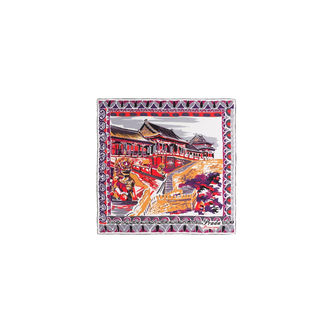 Prada Pañuelo seda estampado Pittoresque Pekín 90 3