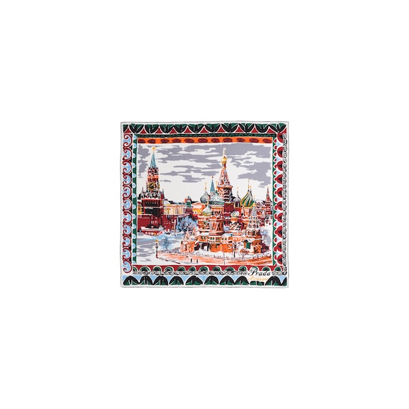 Pittoresque Moscow printed 90 silk foulard