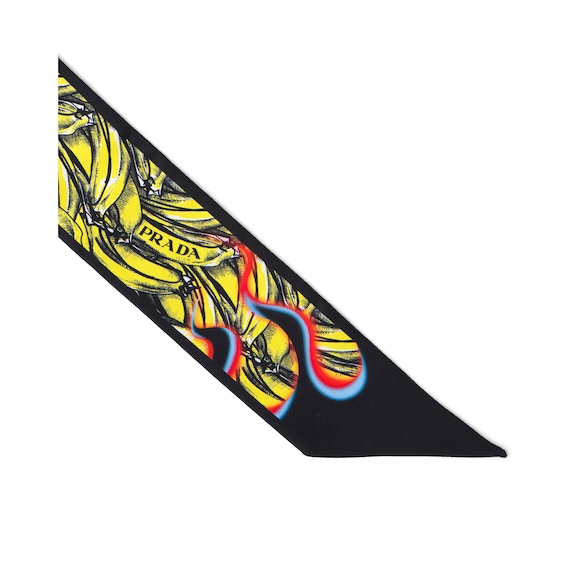 Double Match Bananas printed silk skinny scarf