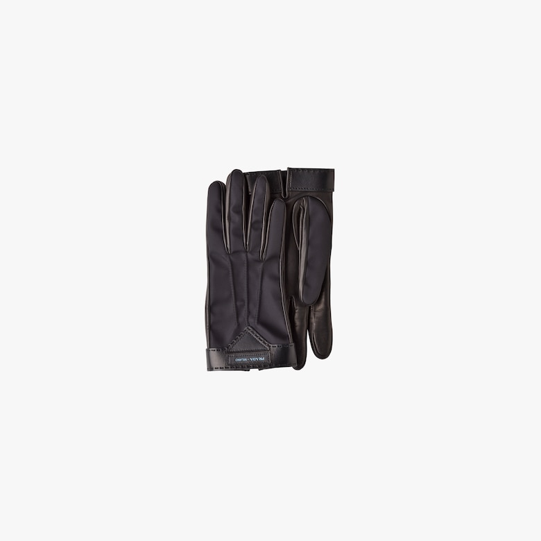 Nylon and nappa leather gloves