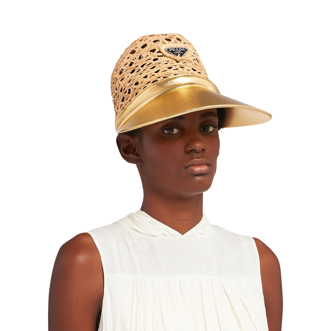Prada Raffia and nappa leather visor hat 2