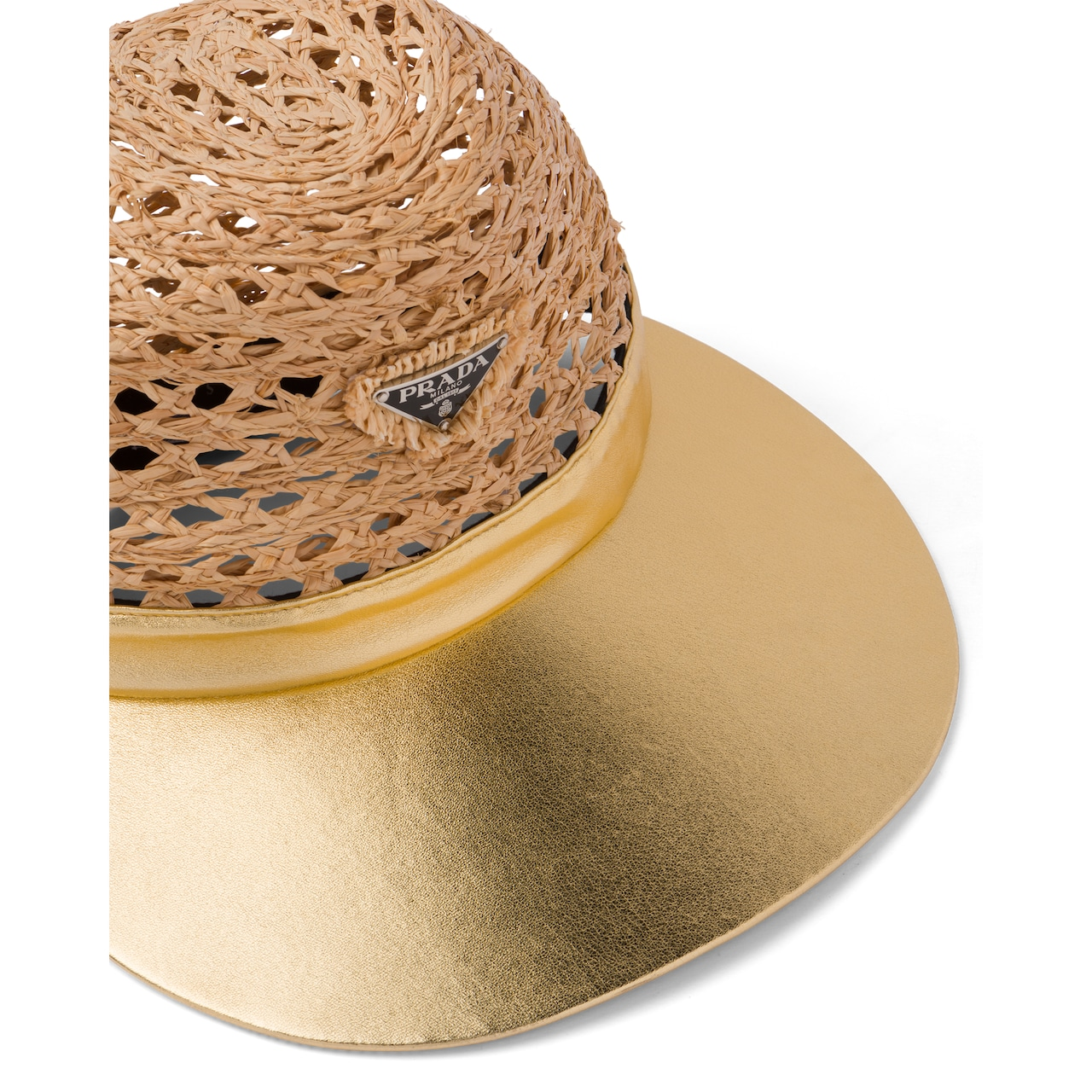Prada Raffia and nappa leather visor hat 4