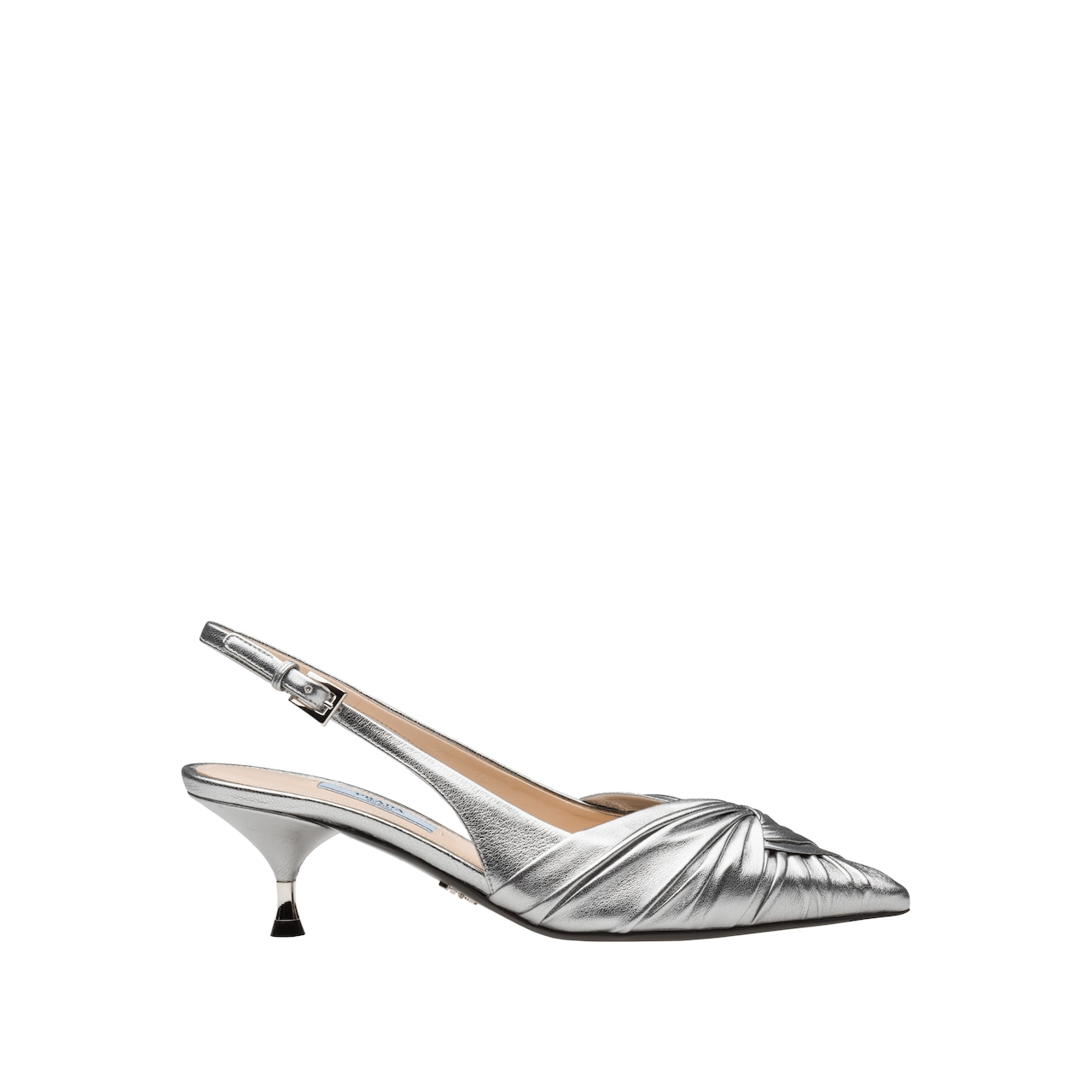 Laminated nappa leather slingbacks