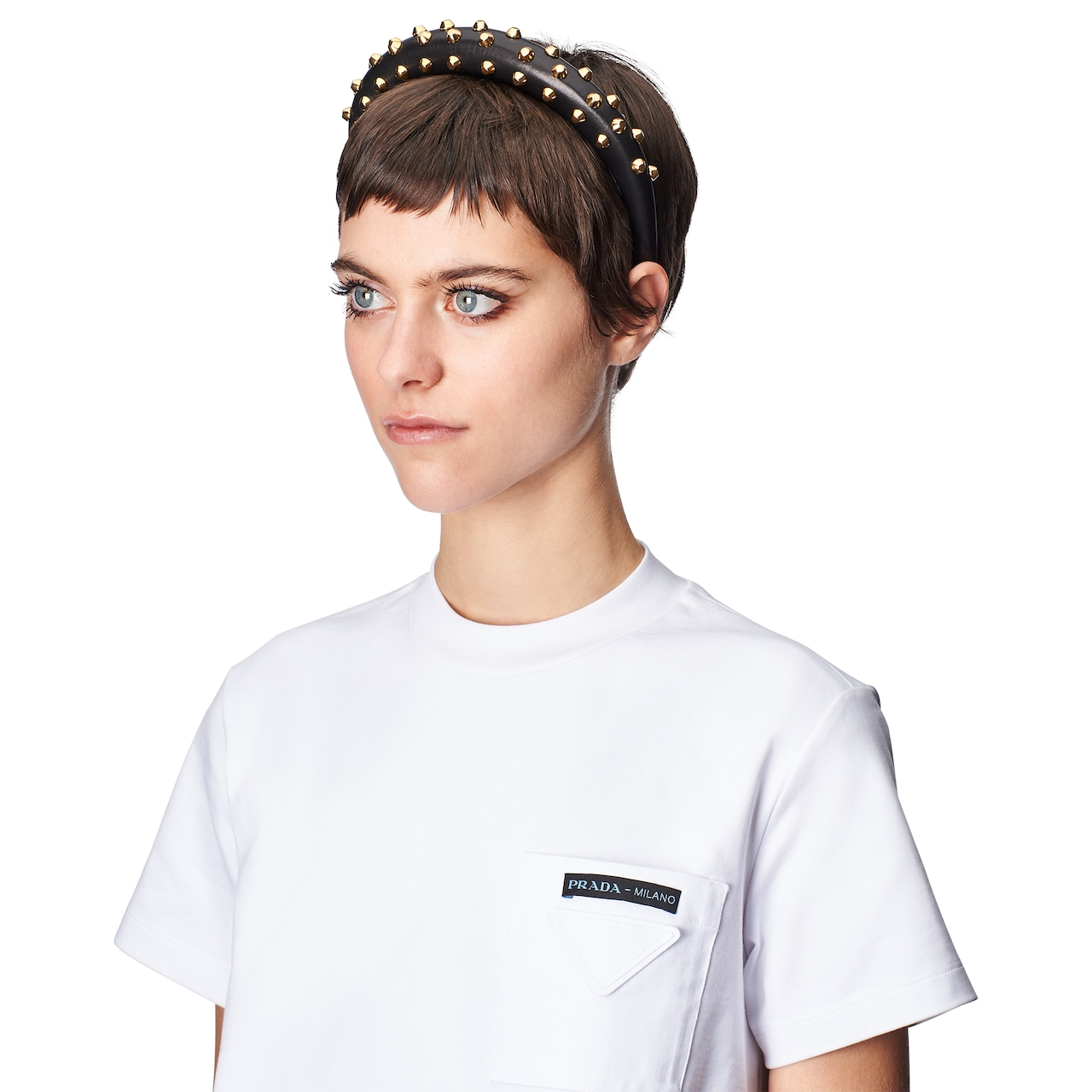 Studded nappa leather headband