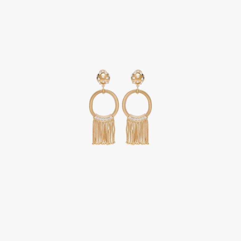 Metal earrings with tassels