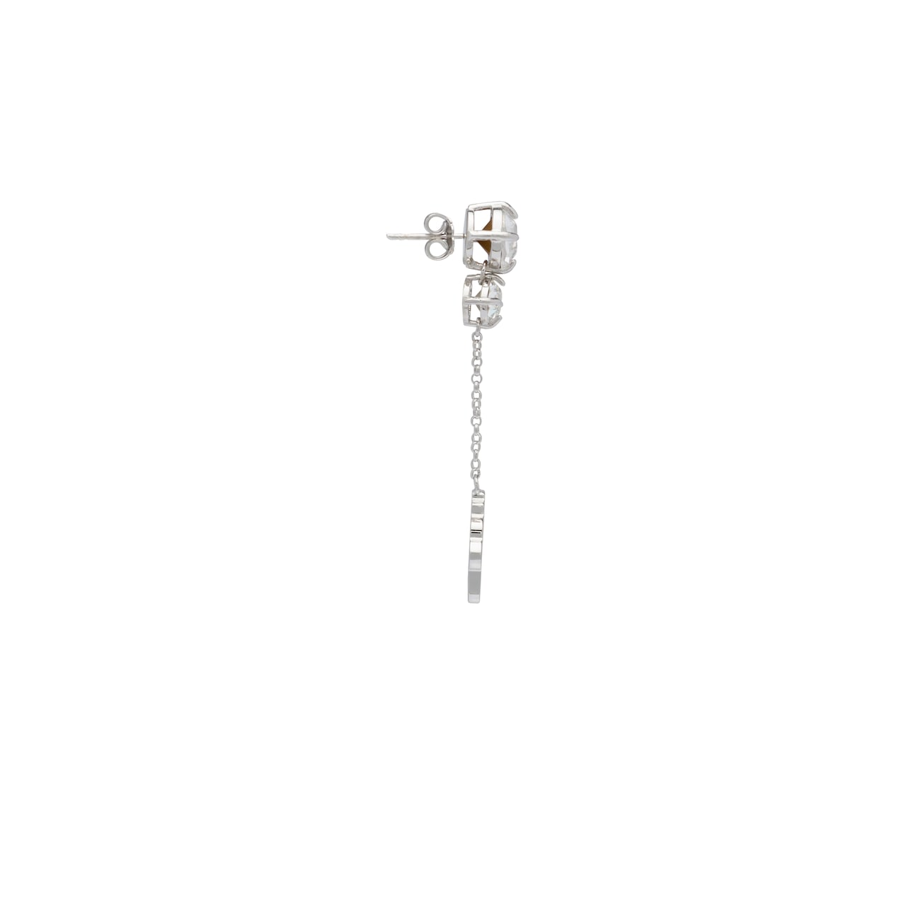 Silver earrings with enameled charm