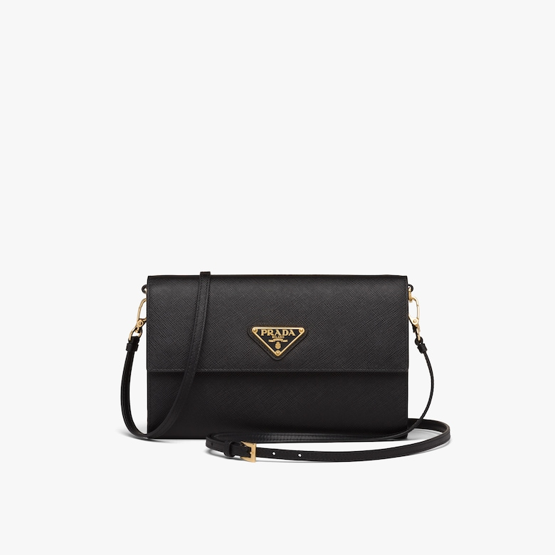 Prada Saffiano and leather wallet with shoulder strap - Woman