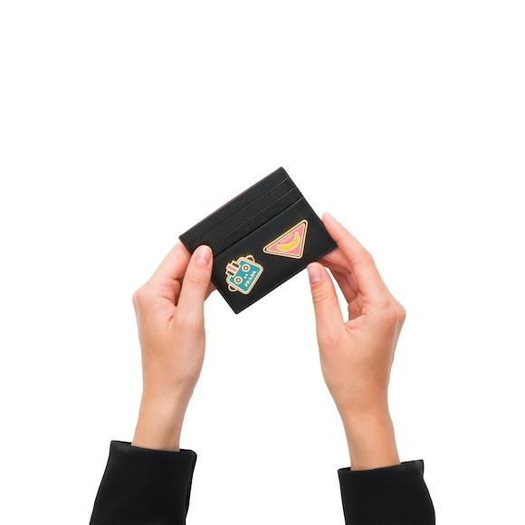 Porte-cartes en cuir Saffiano