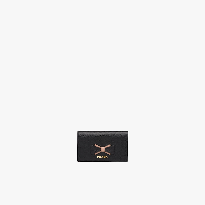Prada Saffiano leather card holder with bow - Woman