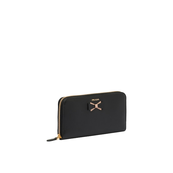 Large Saffiano leather wallet with bow