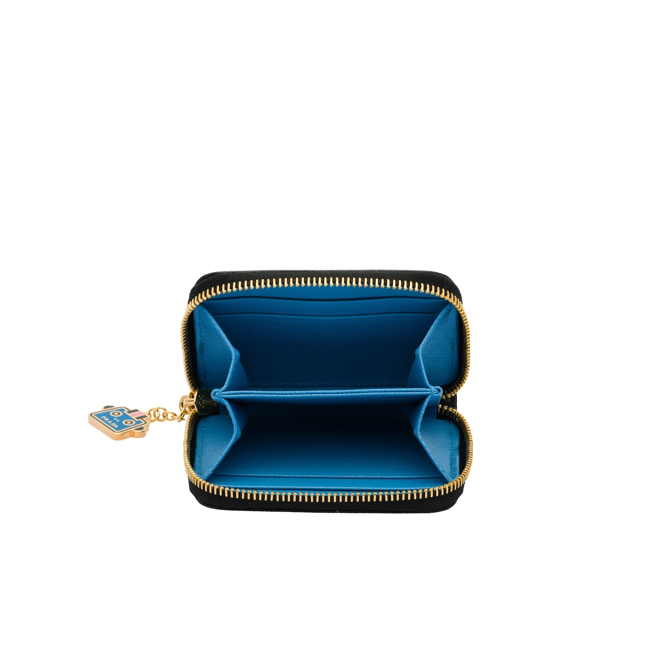 Saffiano leather coin purse with charm