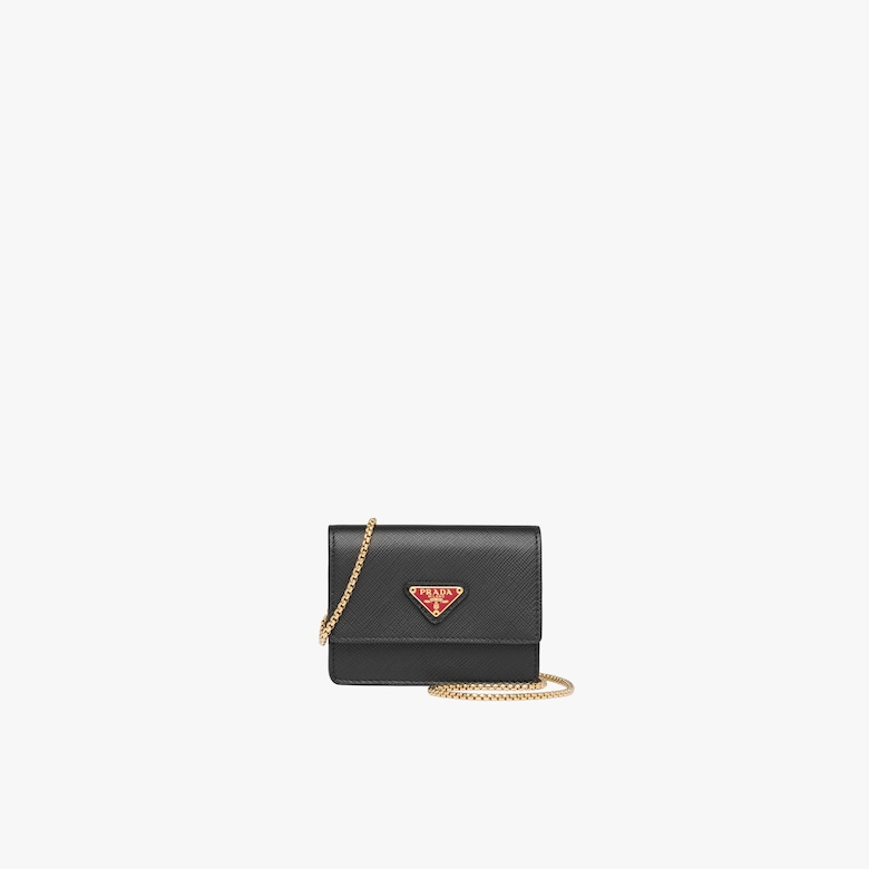 Prada Saffiano leather card holder with chain - Woman