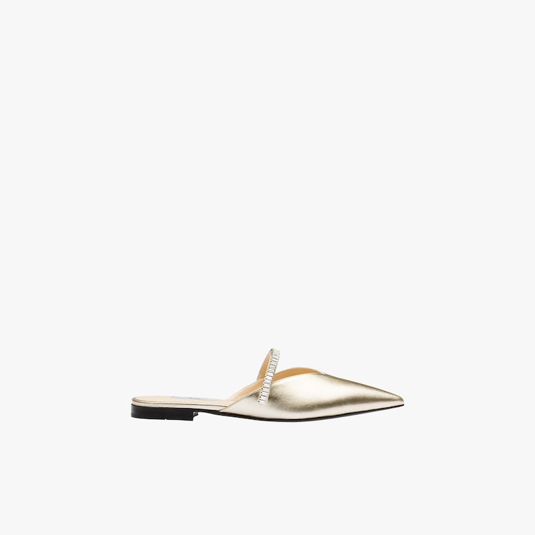 Pearly laminated nappa leather mules