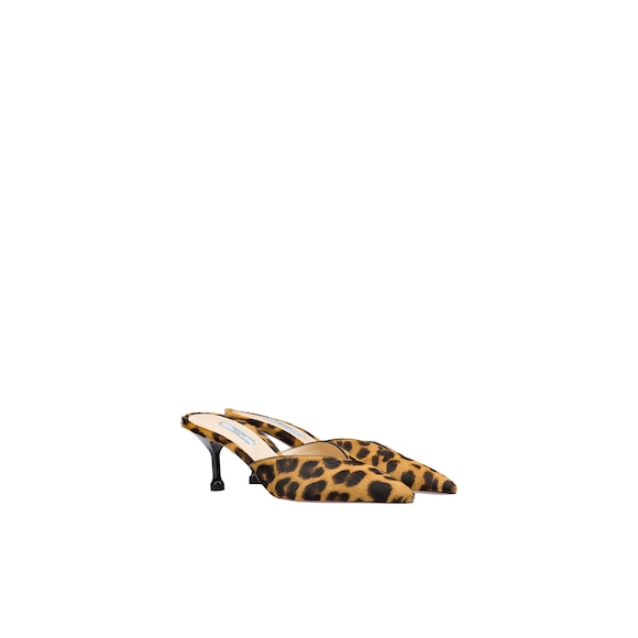 Leopard print calf hair mules