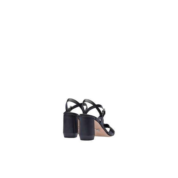 Leather sandals with strap