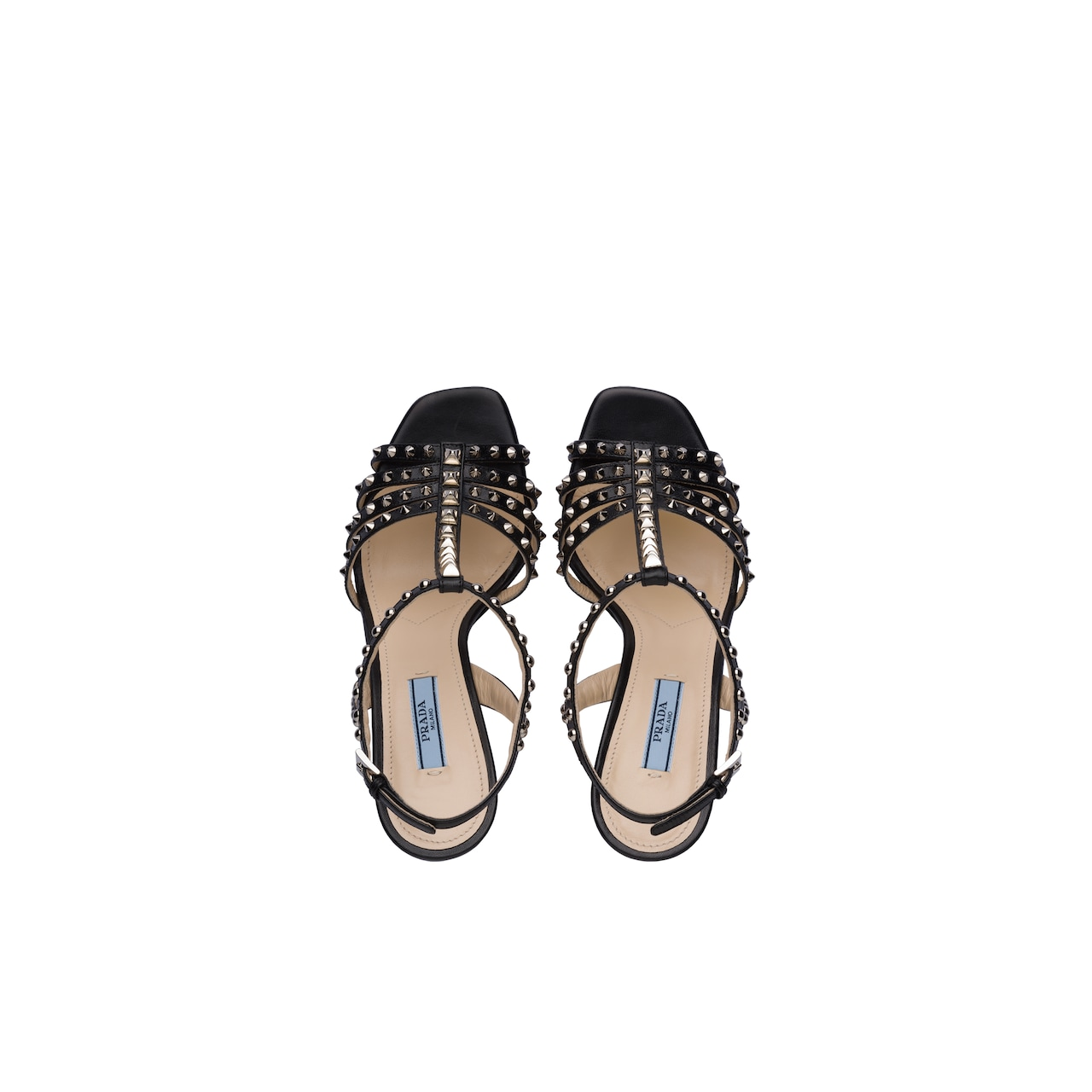 Prada Studded leather T-strap sandals 2