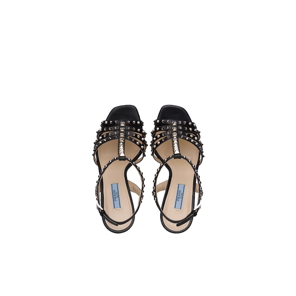 Prada Studded leather T-strap sandals 3