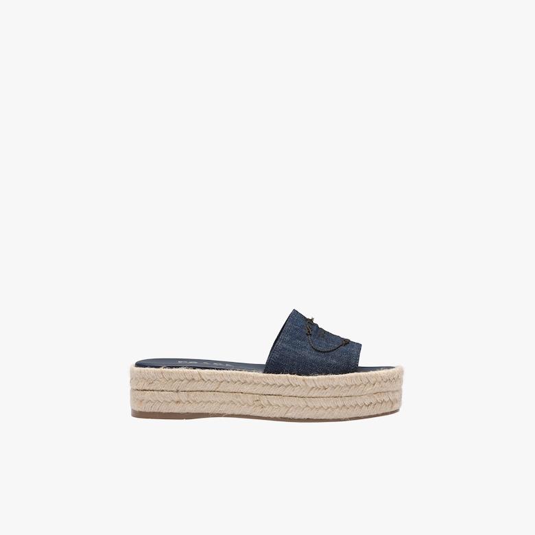 Denim platform sandals