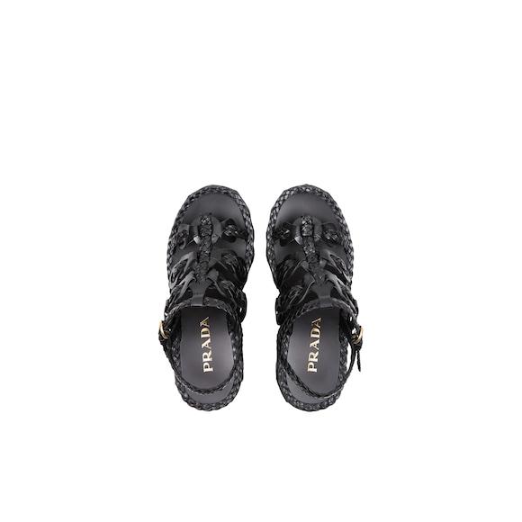 Prada Leather wedge sandals 4