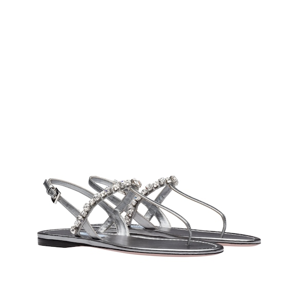 Leather thong sandals with stones