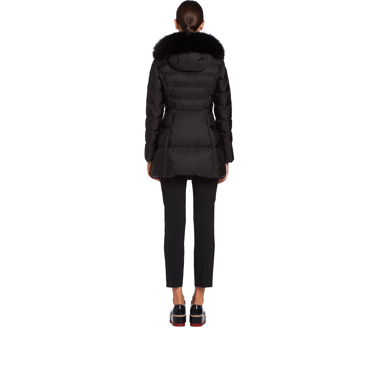 Prada Fur-Trimmed Nylon Down Jacket 4
