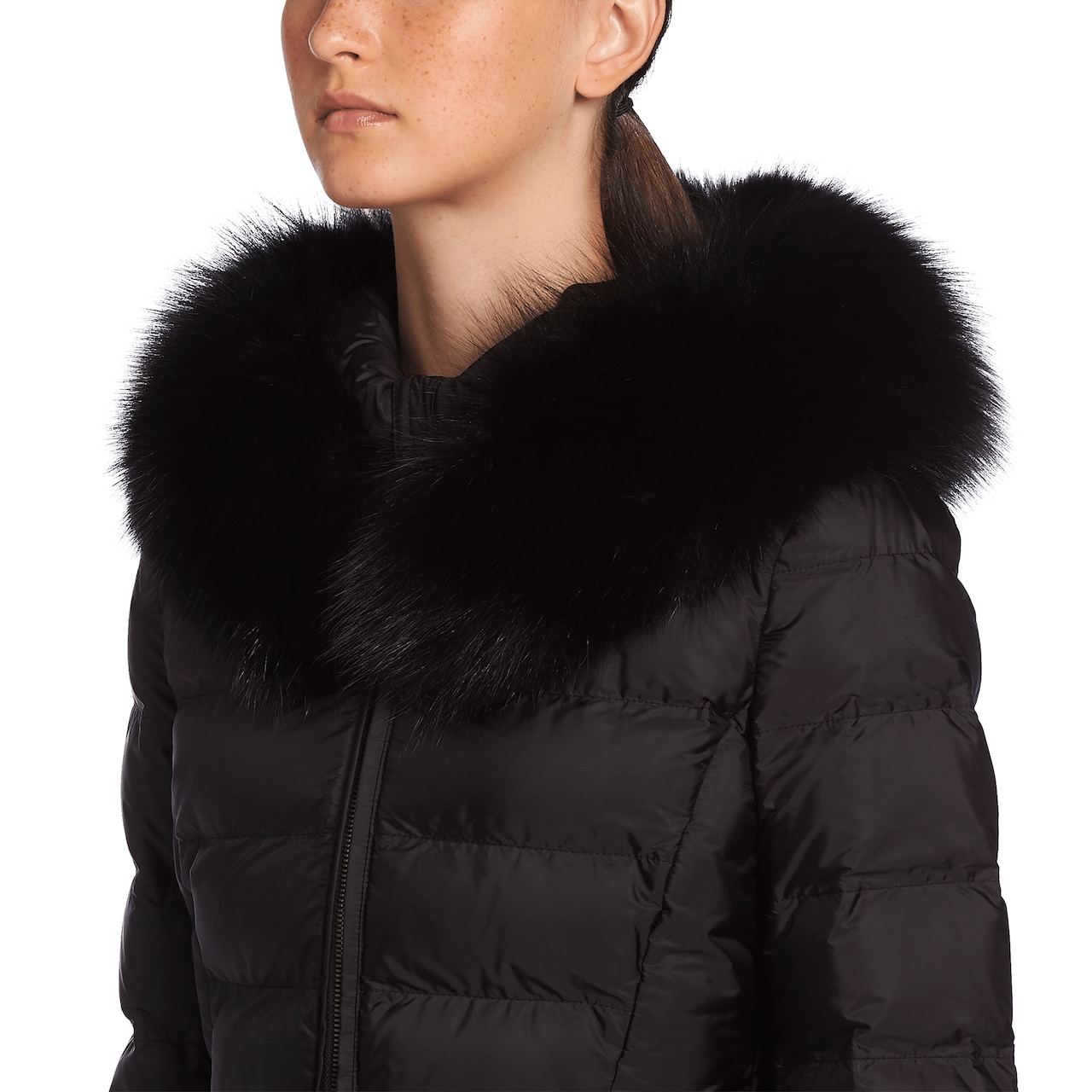 Prada Fur-Trimmed Nylon Down Jacket 5