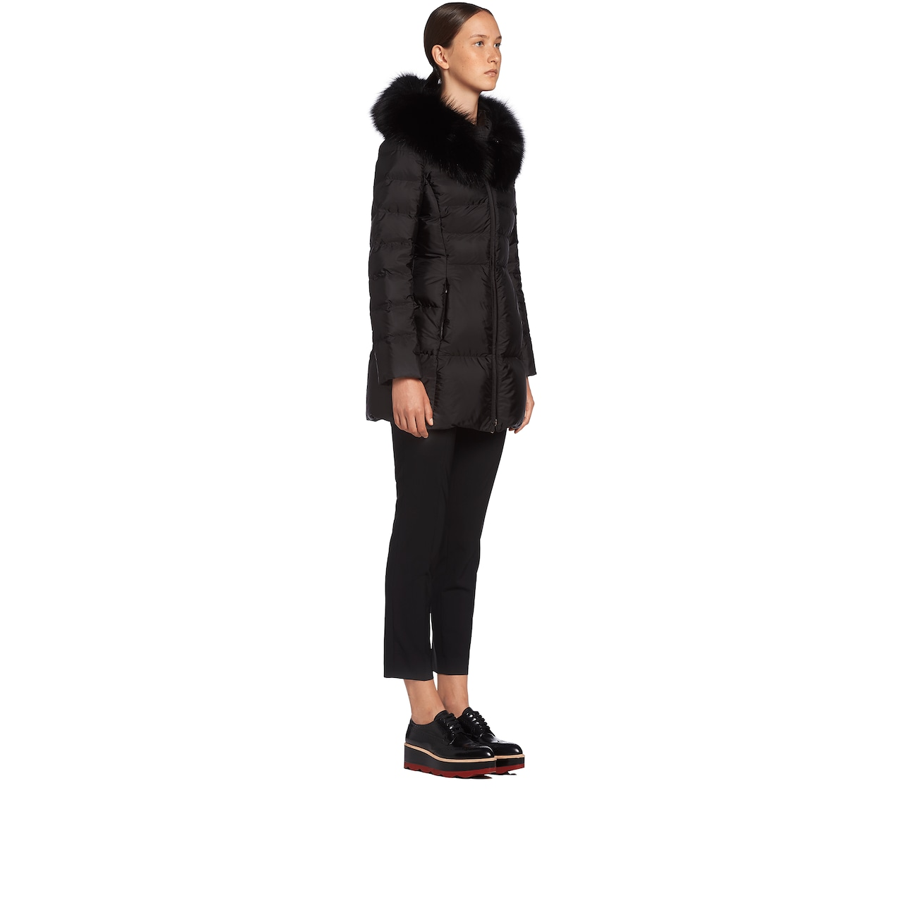 Prada Fur-Trimmed Nylon Down Jacket 3