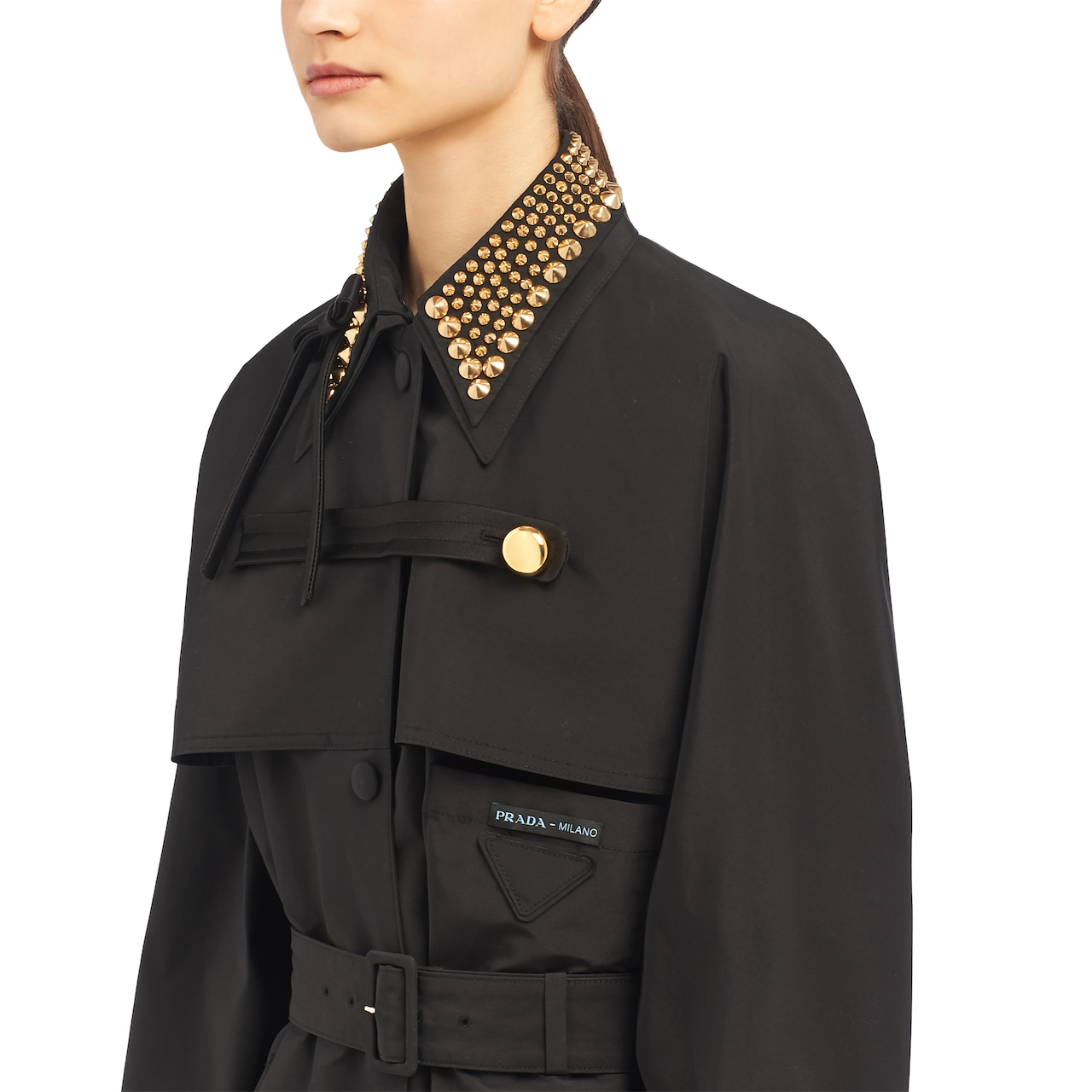 Technical poplin raincoat with studs
