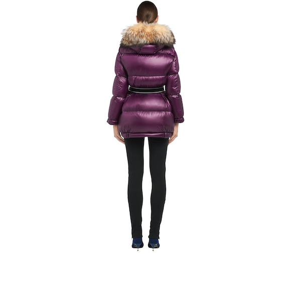 Ripstop puffer jacket with fur trim