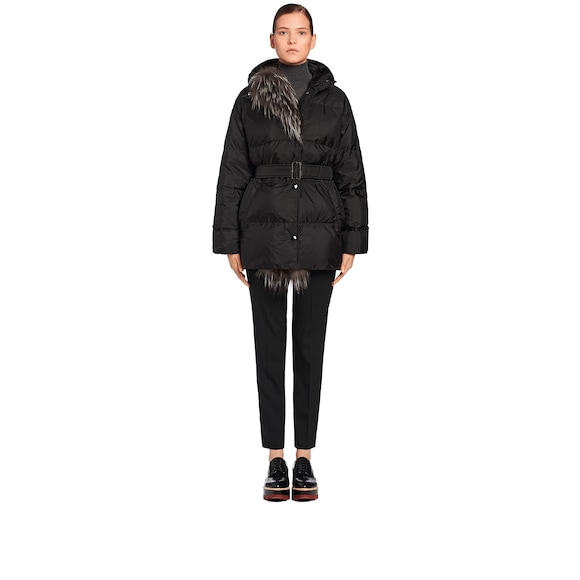 Fur-Trimmed Oversize Down Jacket