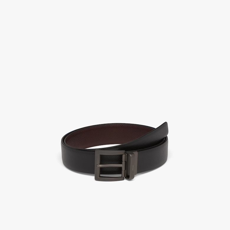 Prada Saffiano Cuir Leather Reversible Belt - Man