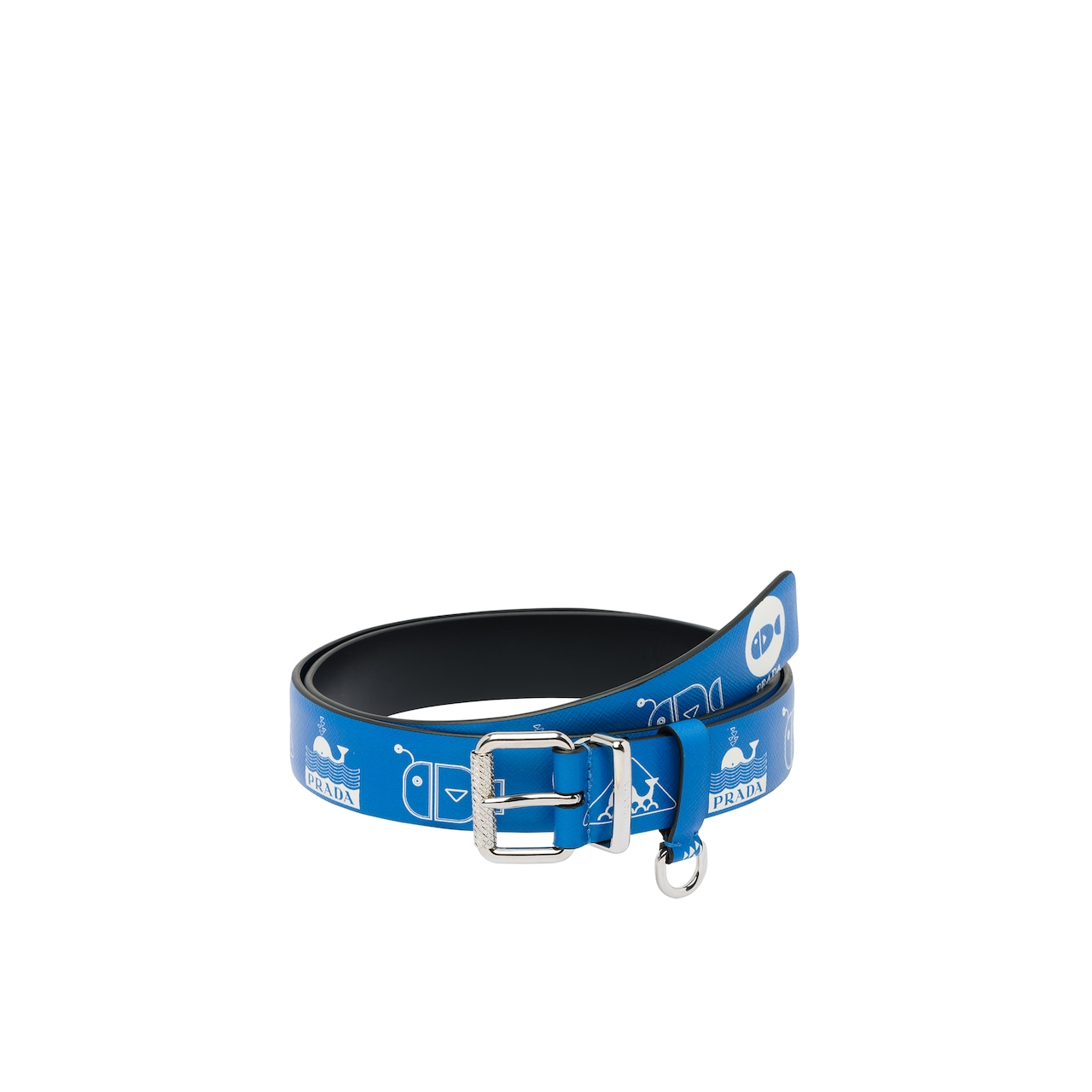 Printed Saffiano leather belt