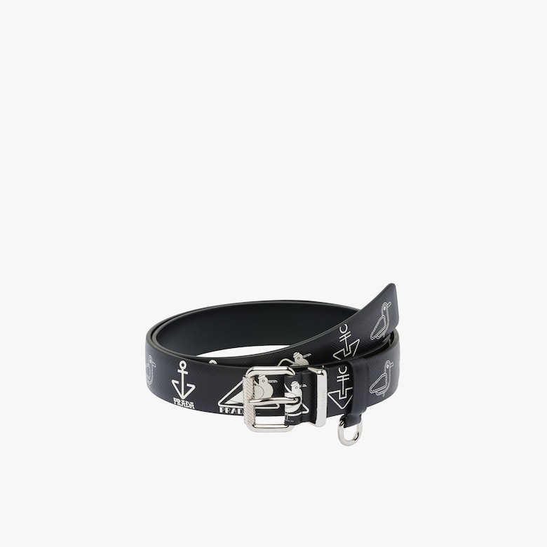Printed Saffiano leather belt