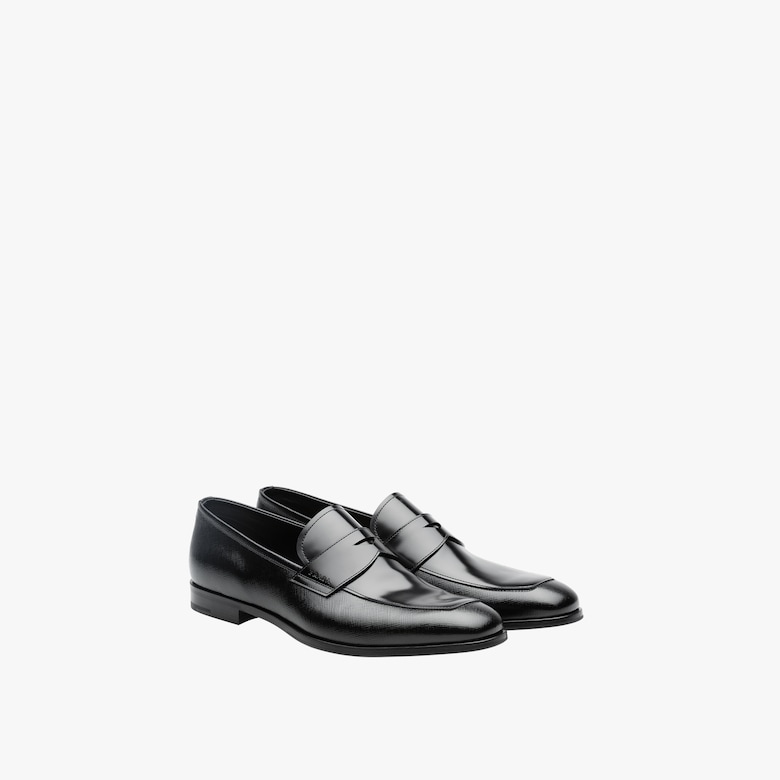 Prada Saffiano and brushed leather moccasins - Man