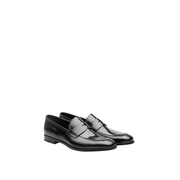 Prada Saffiano and brushed leather moccasins 3