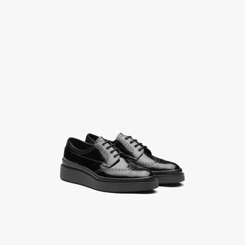 Prada Brushed leather laced derby shoes - Man