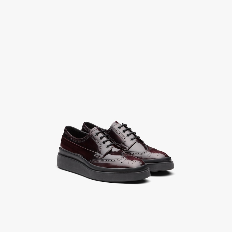 Prada Brushed Leather Derby Shoes - Man