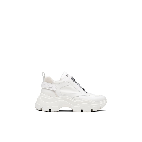 Prada Block Leather And Technical Fabric Sneakers 3
