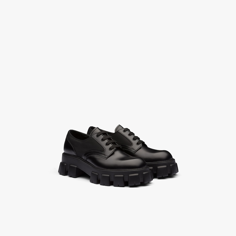 Prada Prada Monolith brushed leather and nylon shoe - Man