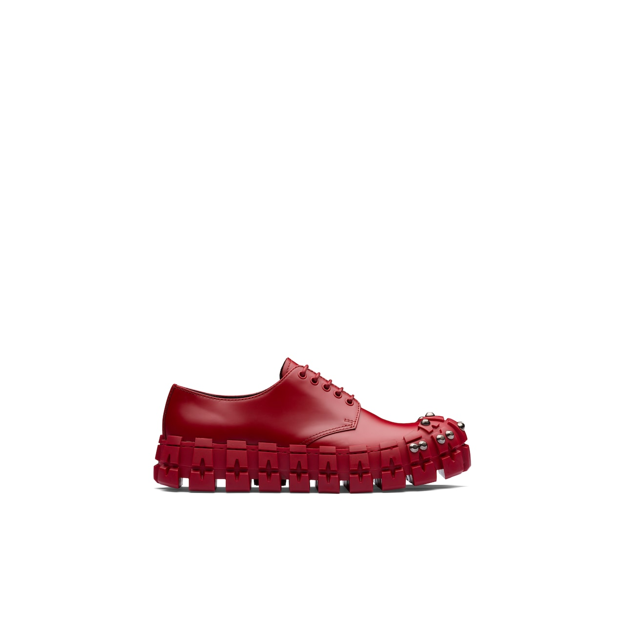 Studded brushed leather derby shoes